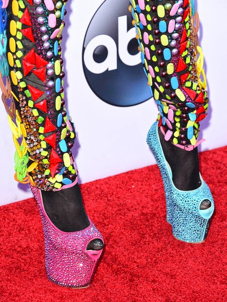 Cameroonian Music star Dencia Rocks  Guiseppe Zanotti heel-less shoes To Billboard Awards