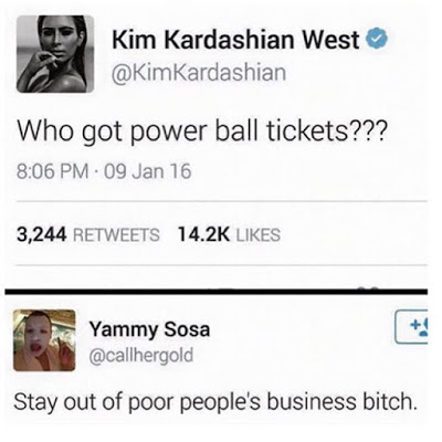 Kim kardashian Gets The Insult of Her Life on Twitter after she Tweeted and asked about Powerball tickets
