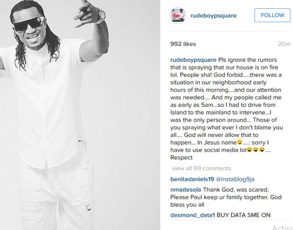 Paul Okoye says there's no fire on the mountain at their home