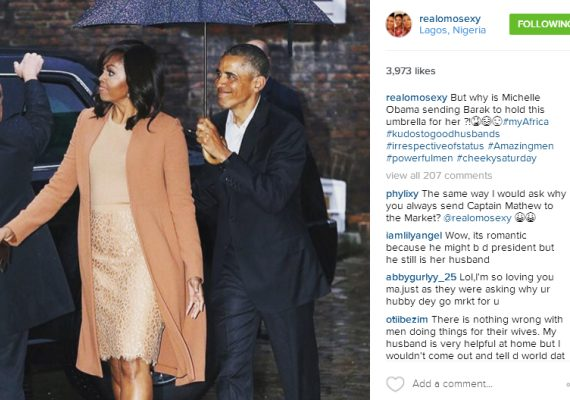 Omotola Jalade Ekeinde Hitback at her Haters with Photo of Obama Holding an Umbrella for his Wife