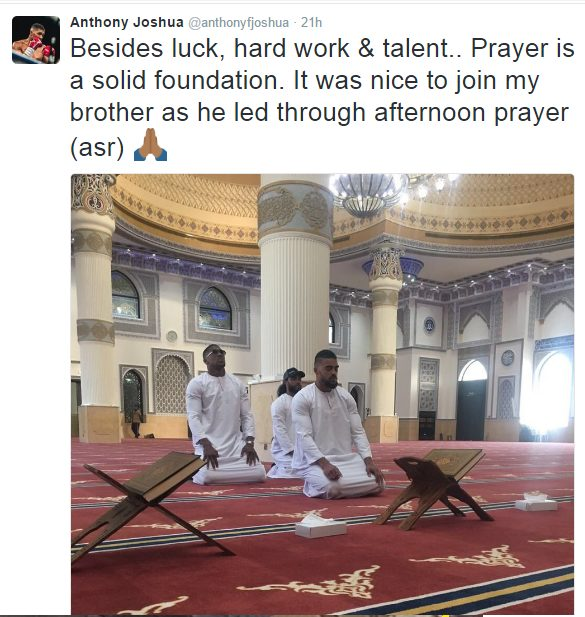 IBF Heavyweight Champion, Anthony Joshua Criticized after tweeting pic of him praying in a mosque