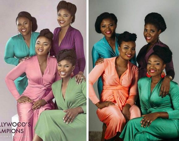 4 Close friends Amazingly Pulls off a Replica Omoni Oboli, Ufuoma, Chioma Akpotha and Uche Jombo's WOW Magazine photo