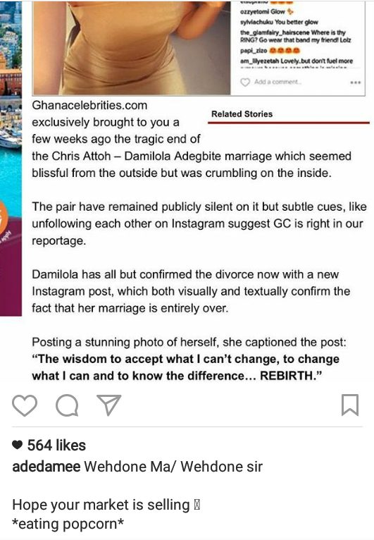 Damilola Adegbite comes back with a Stylish Reply on Rumors of Her Crashed Marriage