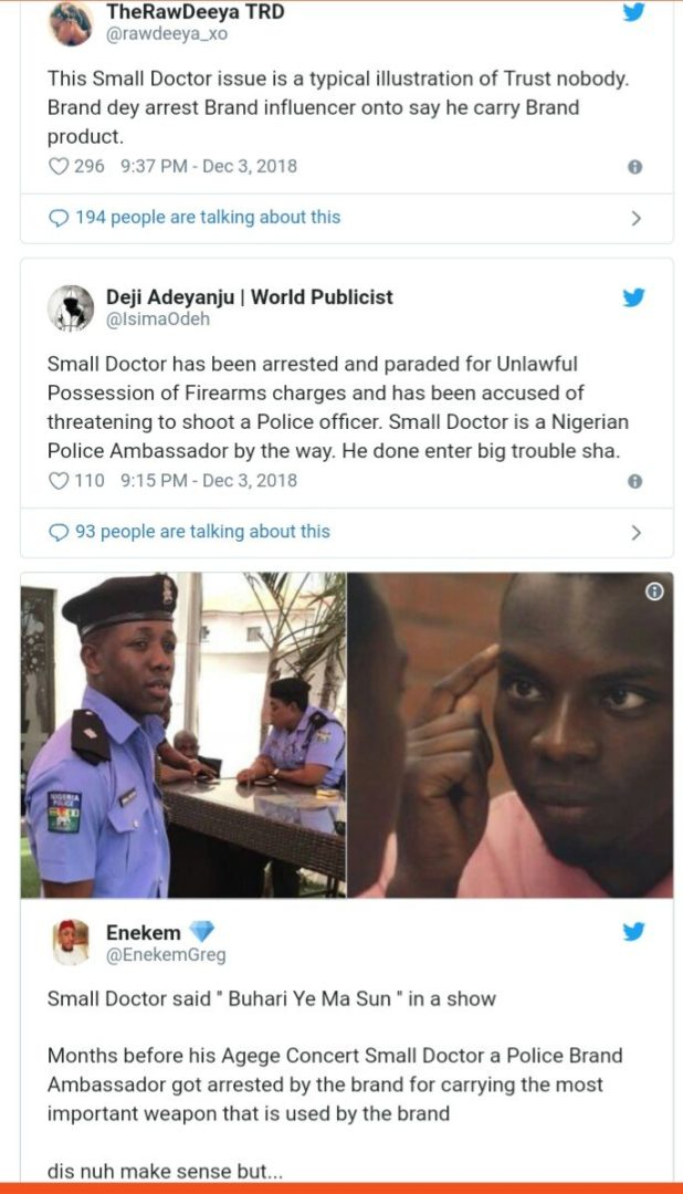 Nigerians mock and drags Nigerian Police Force on social media over Small Doctor's arrest