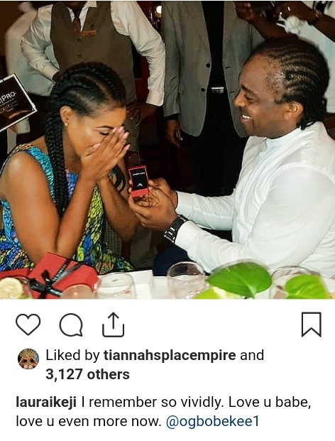 Laura Ikeji shares throwback photo of when her husband proposed to her