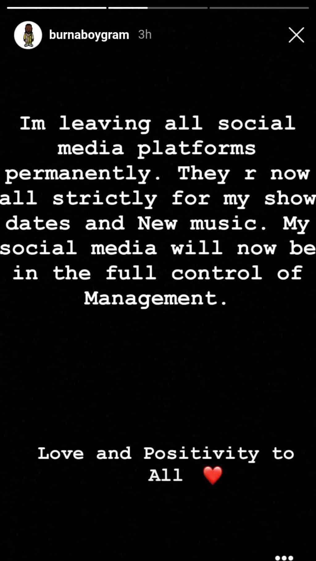 Burna Boy announces he's leaving social media after he was called out over Streaming Numbers