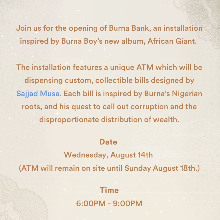 Burna Boy teams up with Spotify to make the first Burna Boy bank