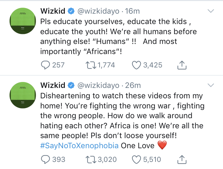 """XENOPHOBIA ATTACK: Wizkid describes situations as """"disheartening"""""""