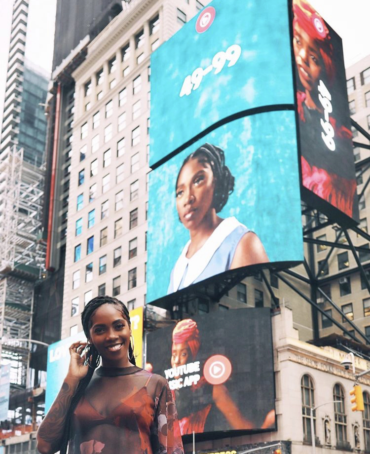 Tiwa Savage's '49-99' appears on Billboard in Time Square, USA