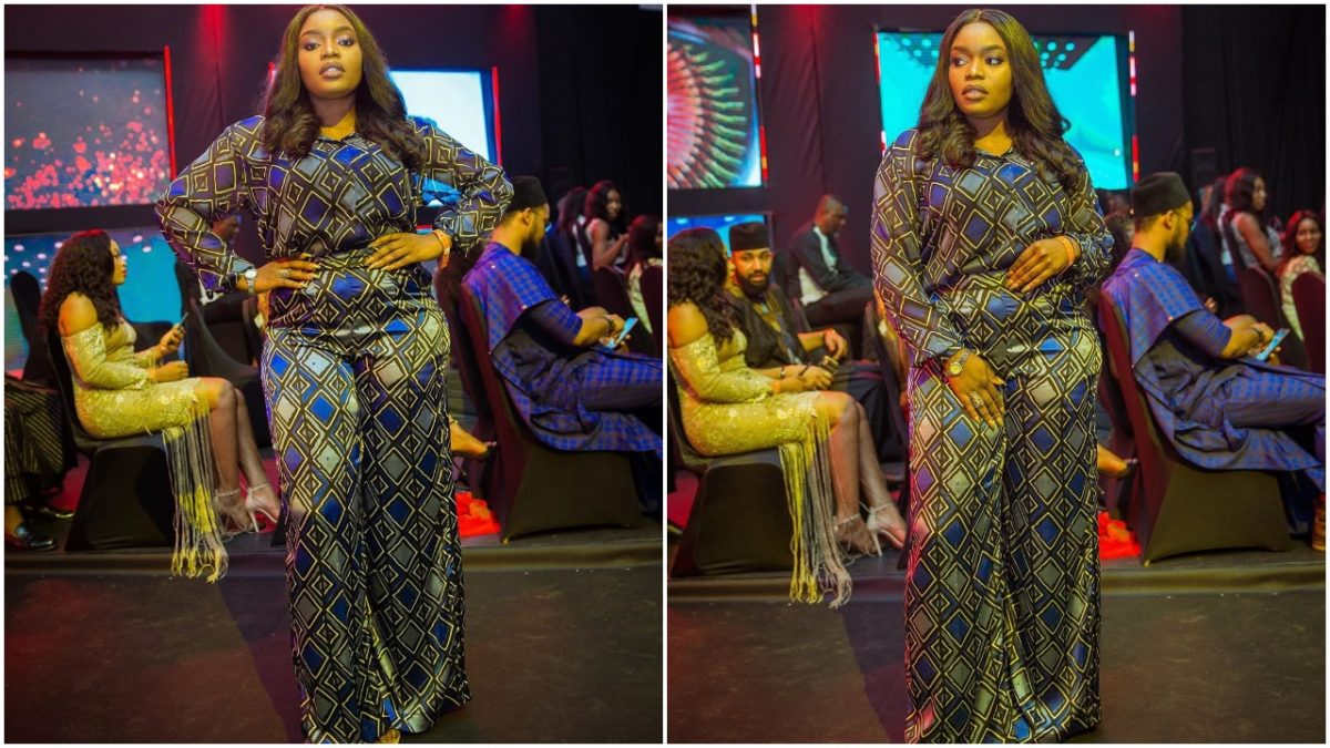 Checkout Bisola's Multicolored jump suit to bbnaija finale