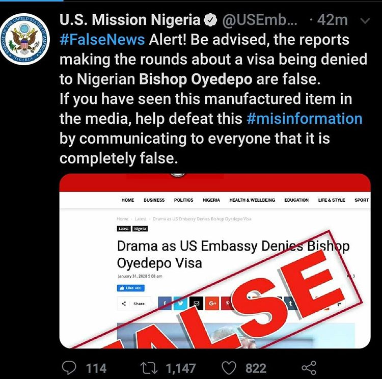 We did not deny Bishop Oyedepo's Visa - US Embassy Finally breaks silence