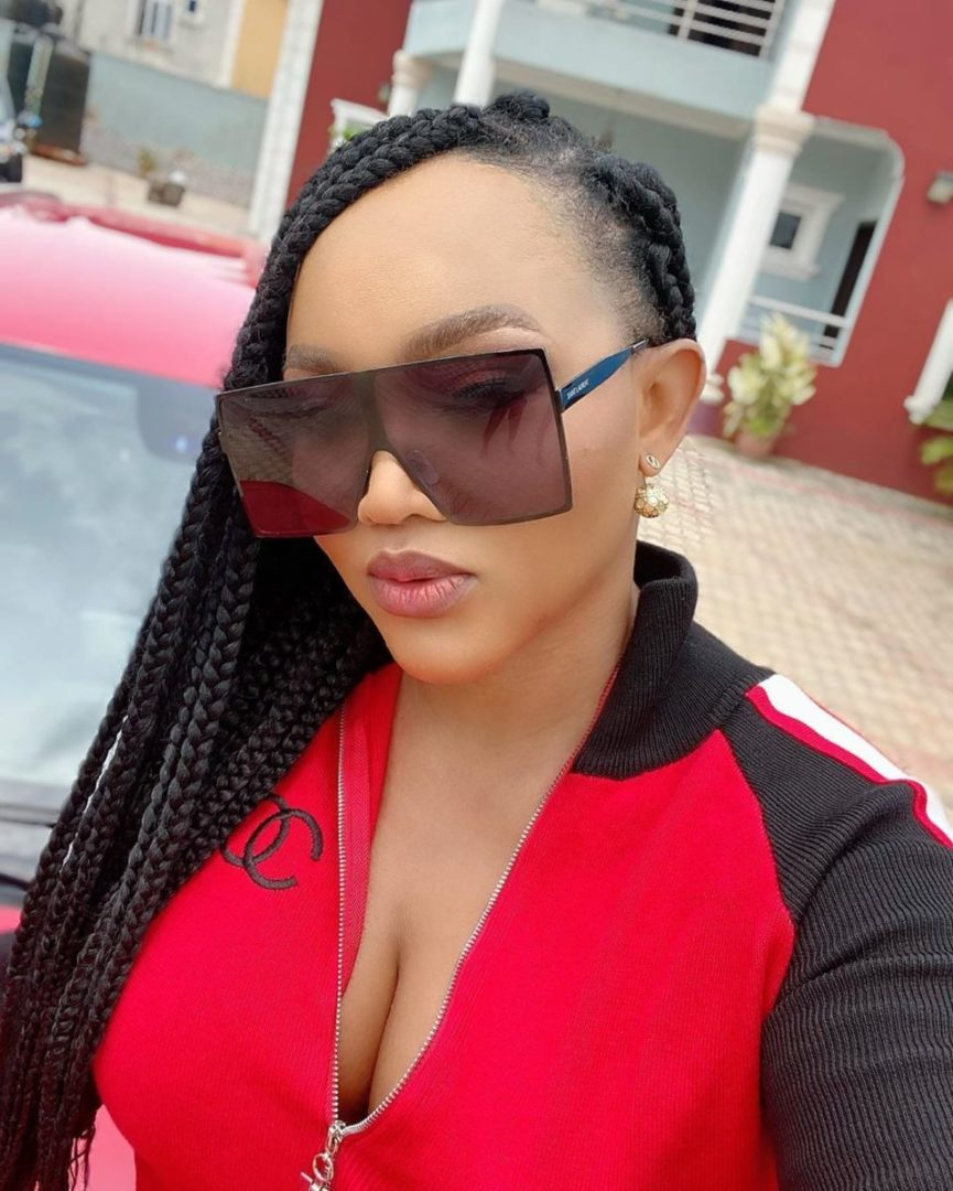 Mercy Aigbe glows in a new red outfit
