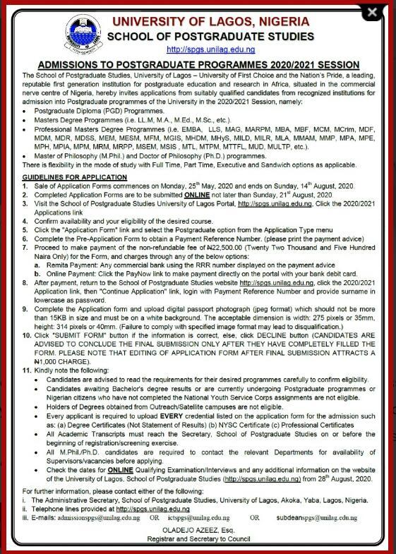 Unilag calls for admission for post graduate studies (photo)