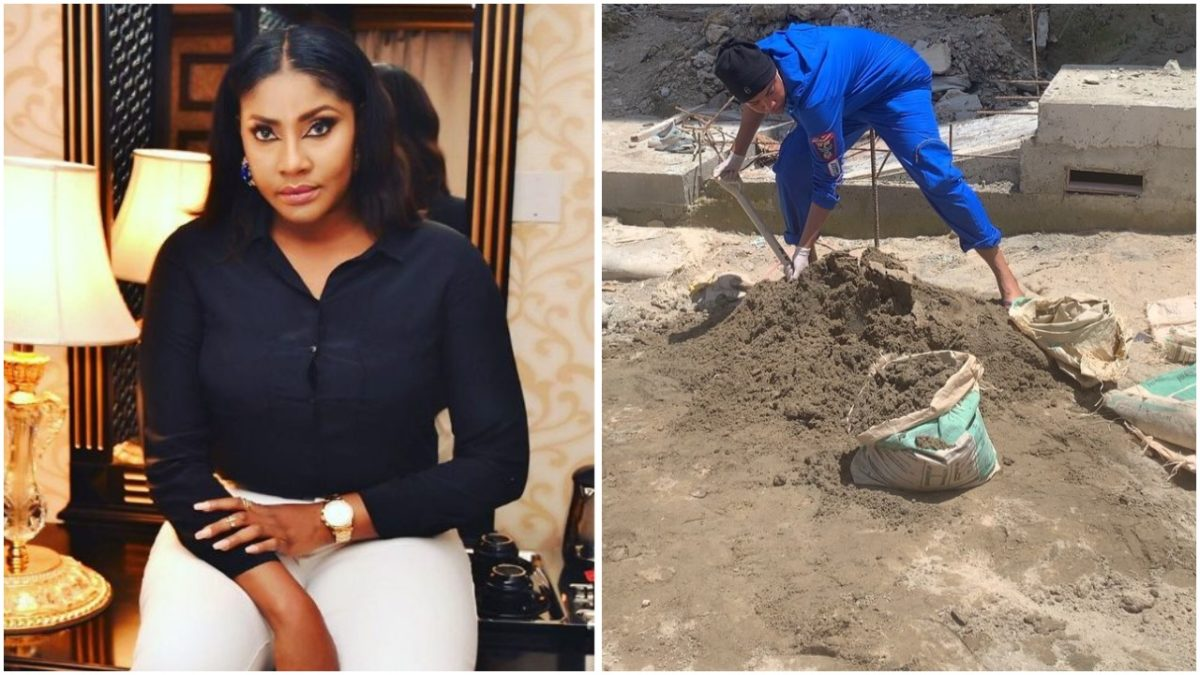 Angela Okorie turns bricklayer, crying for payment