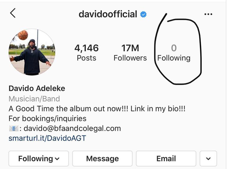Davido unfollows Chioma and everyone on instagram