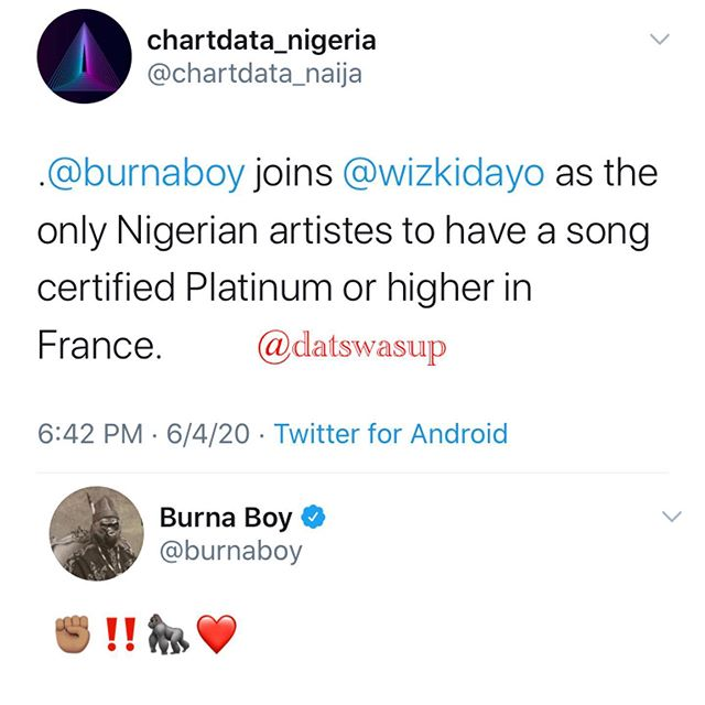 Burna Boy and Star Boy have their songs certified platinum in France (photo)