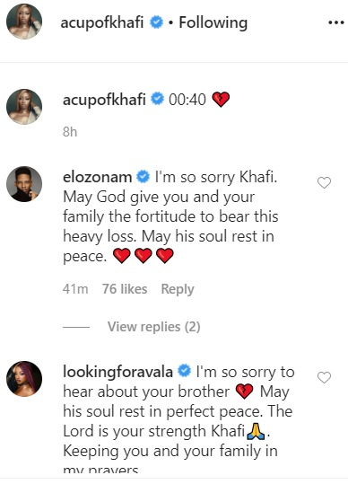 Nigerian celebrities react as Khafi loses brother to UK protests (photos)