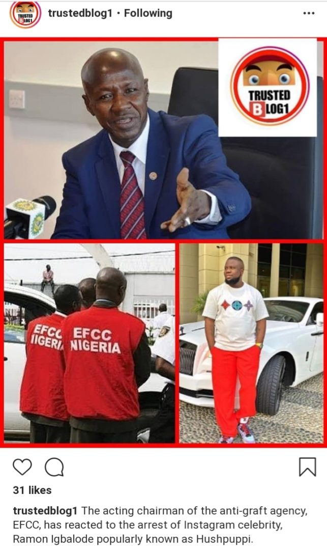EFCC acting chairman, Magu reacts to Hushpuppi and others arrest (photo)