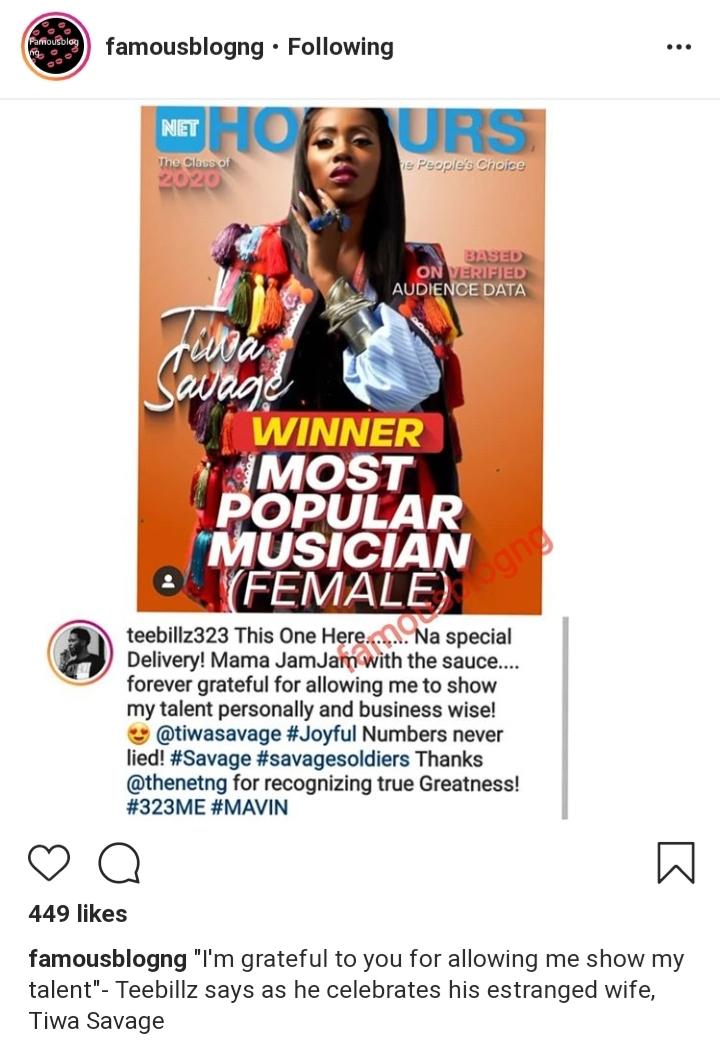 Tiwa Savage's estranged husband celebrates wife for helping him discover talent (photo)