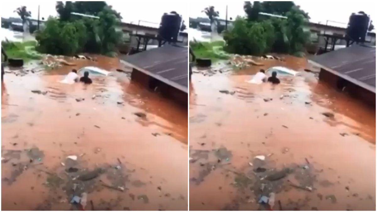 """Heavy Flood swallows a car in the """"Almighty Lekki"""" in Lagos (video)"""
