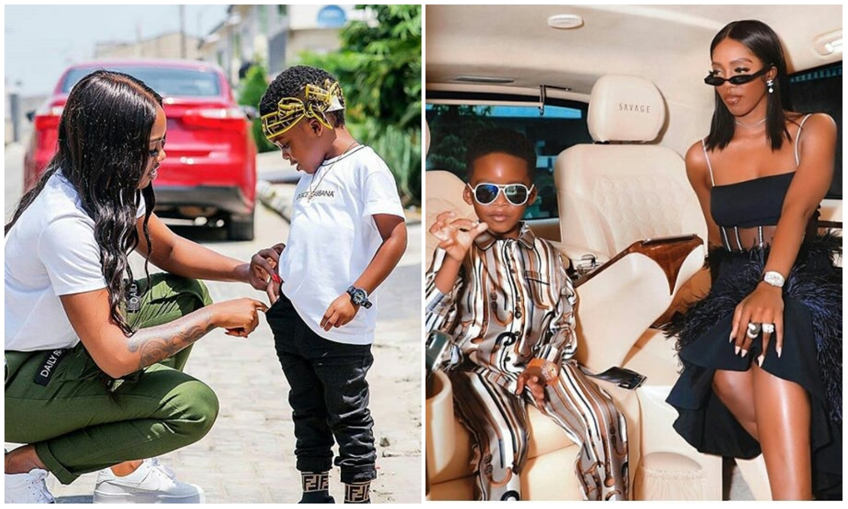 Tiwa Savage gifts her son Jamil, a customised diamond necklace as Birthday Present (Video)