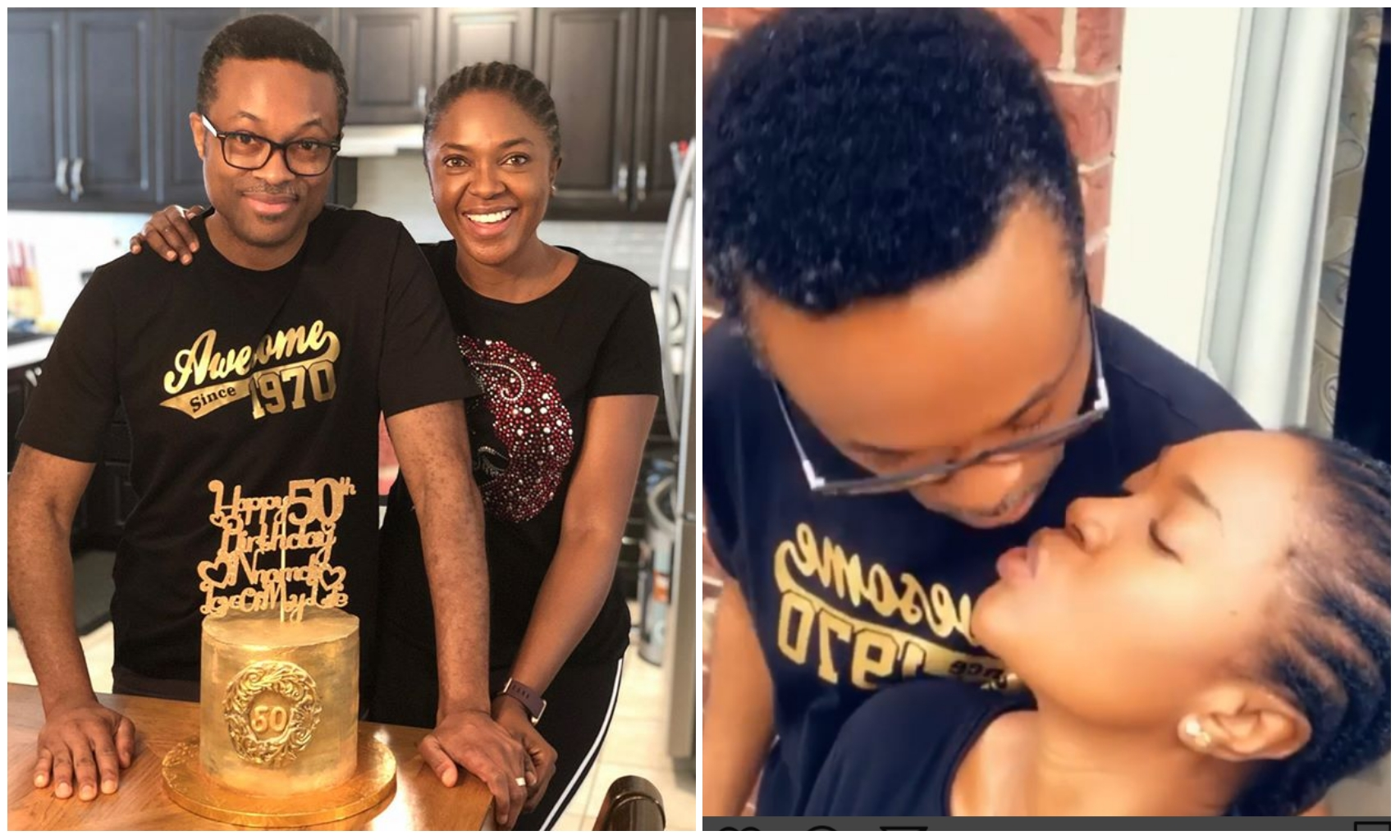 Omoni Oboli and husband, Nnamdi kiss passionately as birthday celebration continues (Video)