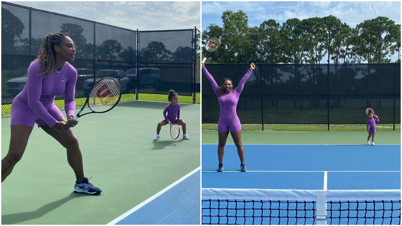 Serena Williams shows up for intense training with nice outfit (photos/video)