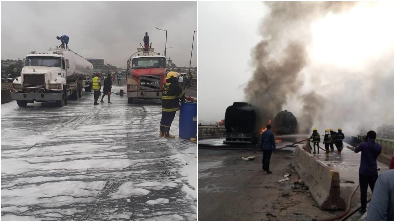 Tanker Accident on Kara Bridge Causes heavy traffic Gridlock in Lagos (photo)