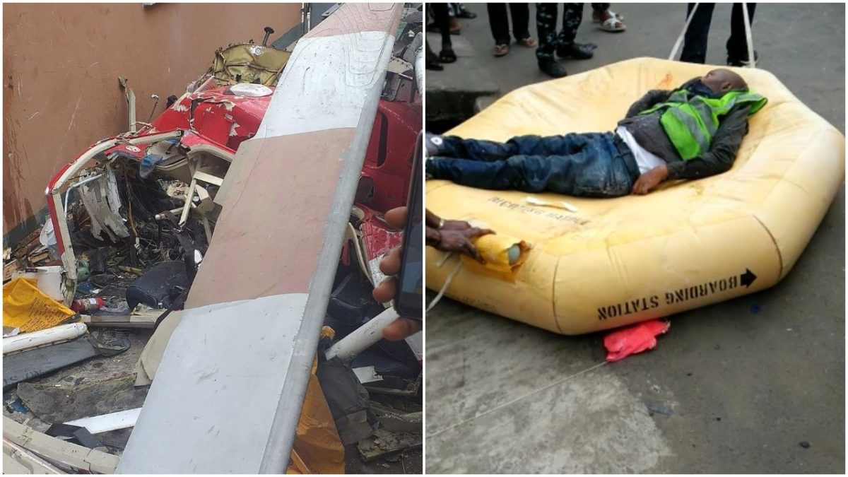 Moment two dead bodies where Recovered from the Helicopter Crash Site at Opebi Lagos