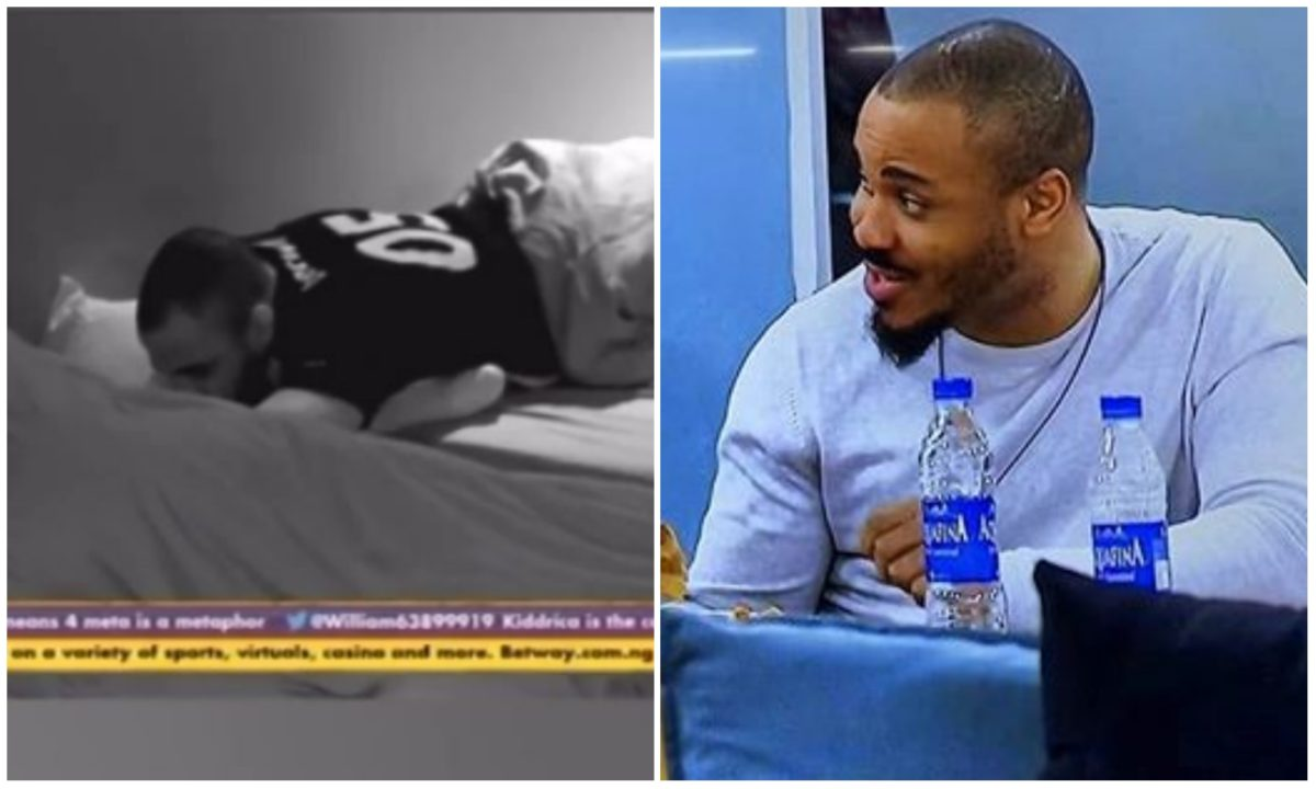 #BBNaija: Ozo caught in a bizzare position with Nengi, accused of fondling her bo*bs (Video)