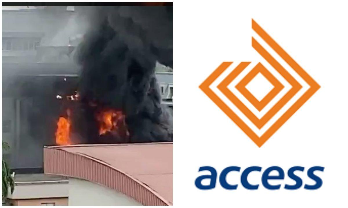 Breaking: Fire razes Access Bank Office in Ademola Adetokunbo, VI, Lagos (Video)