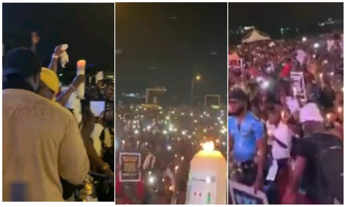 EndSARS: Protesters light up candles in remembrance of victims of police brutality (Video)