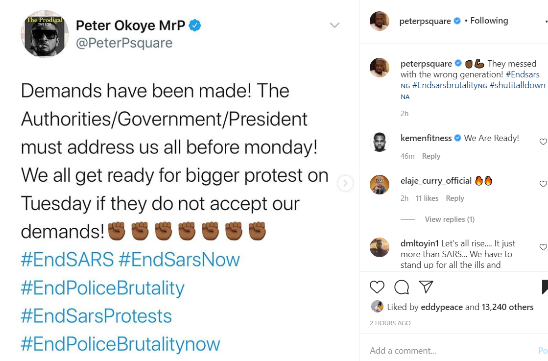 They messed with the wrong generation - Mr P Shades Nigerian Government