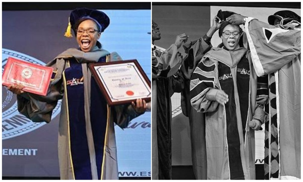 Dancer Kaffy bags honorary doctorate degree from ESCAE Benin University (Photos)