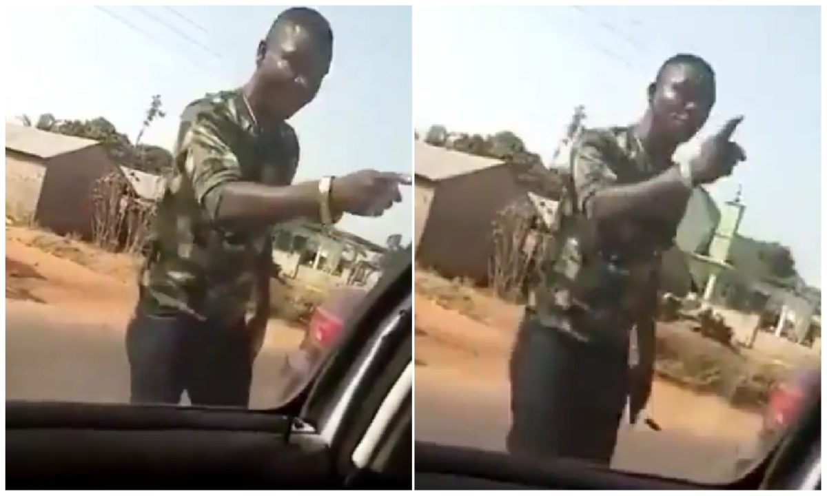 Moment a soldier threatened to kill a driver and claim nothing will happen (Video)